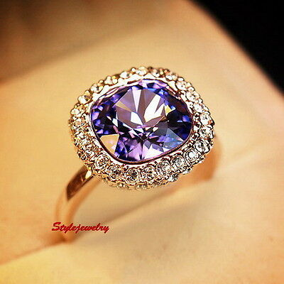 Rose Gold Plated Amethyst Square Cocktail Ring Made with Swarovski Crystal R196