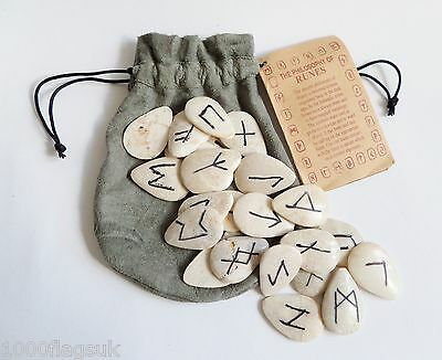 * Set Of 25 Anglo-Saxon Futhorc Rune Stones - Made in Indonesia - 1645 *