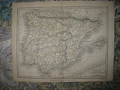 Superb Antique 1826 Spain Portugal Handcolored Map Detailed Fine Rare Nr