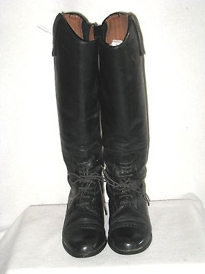 Women's Ariat Equestrian Leather  Riding Boots Black Euc Height Med/calf Med  8