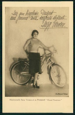 Suzy Vernon advertising PEUGEOT  Bicycle cycling bike original 1930s postcard