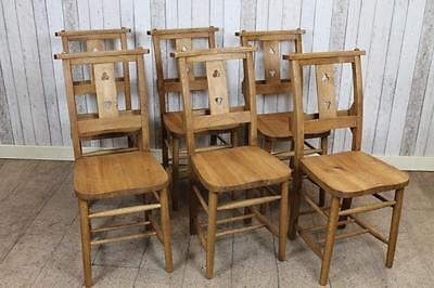 Antique Style Solid Oak Chapel Chairs Church Chairs With Cloverleaf Design • £85.00