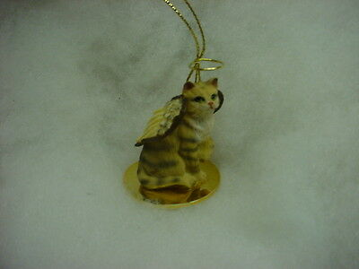BROWN STRIPED TABBY kitty CAT ANGEL Ornament Figurine NEW Christmas kitten