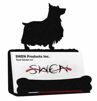 SWEN Products SILKY TERRIER Dog Black Metal Business Card Holder