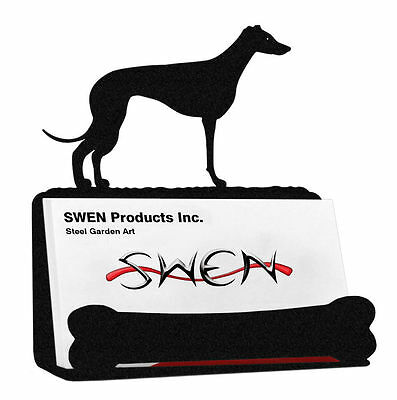 SWEN Products WHIPPET Dog Black Metal Business Card Holder