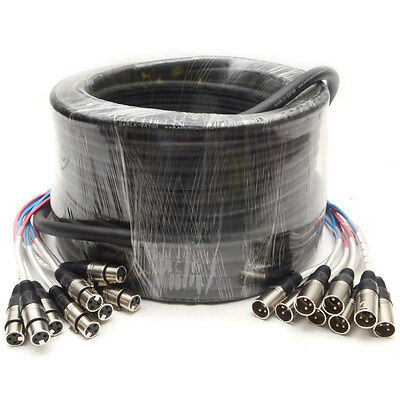 Seismic Audio 8 CHANNEL XLR SNAKE CABLE - 100 Feet Pro Extension Stage/Recording