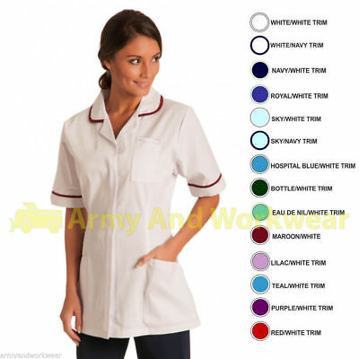 Ladies Plain Healthcare Nurses Beautician Tunics Dress Uniform Vet Medical Salon