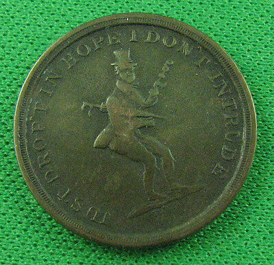 19th Century Victorian Game Counter Token Just Drop't in Hope I Don't Intrude