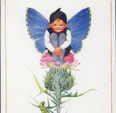 "Millicent Sowerby.. Fantasy Fairy ""clifton Blue"" Caterpillar, Butterfly,postcard"