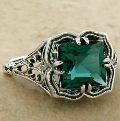 Green Sim Emerald Antique Filigree Design .925 Sterling Silver Ring,        #704