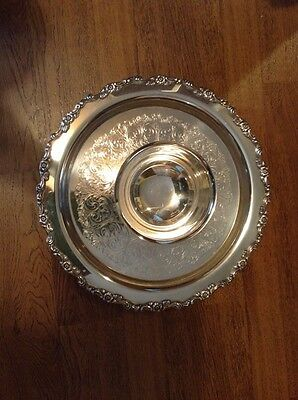 Nice William Rogers Silverplate Tray With Attached Bowl
