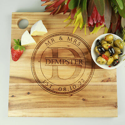 Engraved Chopping Board, Personalised Wooden Wedding, Birthday, Engagement Gift