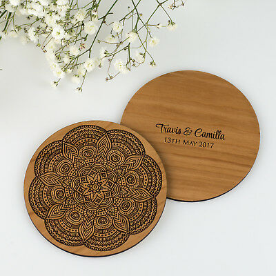 Personalised Engraved Wooden Coaster Wedding/Engagement Decoration or Gift