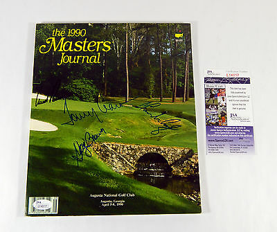 Arnold Palmer + 3 Others Signed 1990 Masters Journal 4 JSA Autos