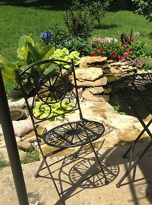 folding BISTRO shabby vintage iron scroll outdoor patio furniture Chair seat