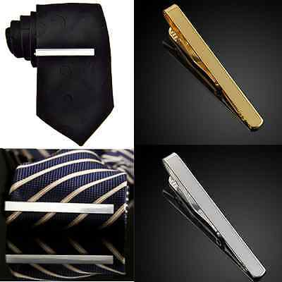 Fashion Mens Boys Metal Silver Gold Simple Necktie Tie Bar Clasp Pin Clip Gift