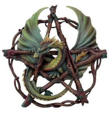 "New Anne Stokes 12.5"" Forest Pentagram Dragon Plaque C4"