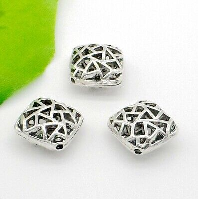 10/100Pcs Tibetan Silver Hollow Spacer Beads For Jewelry Making Craft 15x8mm