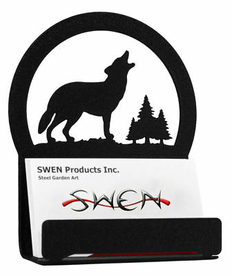 Swen Products Wolf Wildlife Black Metal Business Card Holder