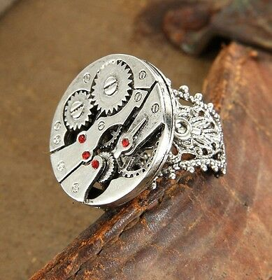 SteamPunk Cosplay Victorian Adjustable Watch Gears Ring Silver Toned NEW SEALED