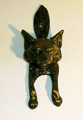 Antique / Vintage English Solid Brass Fox Motif Door Knocker England