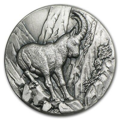2014 Niue 1 oz Silver Swiss Wildlife High Relief IBEX Capricorn FIRST IN SERIES