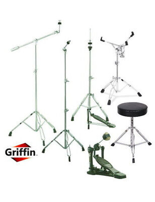 Drum Kit Hardware Pack Cymbal Stand Snare Hi-Hat Throne Kick Bass Pedal Set