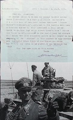 General Hasso von Manteuffel WW II Tank Commander Good Content Signed Letter