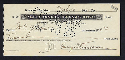 Harry S Truman US 33rd President  Signature Autograph  Bank Cheque 1925 w/COA
