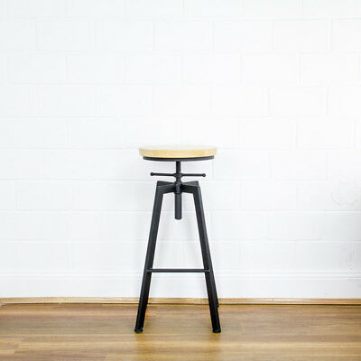 Vintage Retro Industrial Steel Bar Stools Kitchen Dining Pub Black Metal Stool