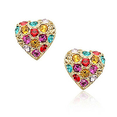 Rose Gold Plated Muti Color Heart Stud Earring Made With Swarovski Crystal IE71
