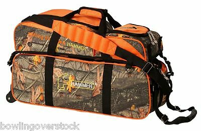 Hammer 3 Ball Bowling Bag Triple Tote With pouch roller CAMO NEW HAMMERFLAGE
