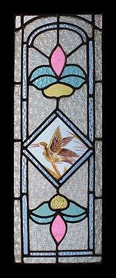 Stunning Painted Bird Antique English Lakeland  Heron Stained Glass Window