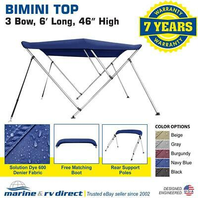 """Bimini Top Boat Cover New 46"""" High 3 Bow 6' ft. L x 73""""-78"""" W Navy Blue"""