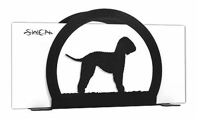 SWEN Products BEDLINGTON TERRIER Dog Black Metal Letter Napkin Card Holder