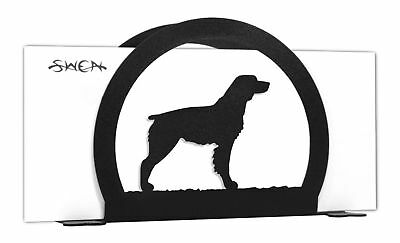 SWEN Products BRITTANY SPANIEL Dog Black Metal Letter Napkin Card Holder