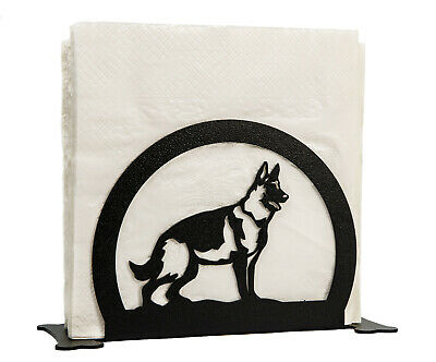 SWEN Products GERMAN SHEPHERD Dog Black Metal Letter Napkin Card Holder