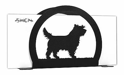 SWEN Products CAIRN TERRIER Dog Black Metal Letter Napkin Card Holder