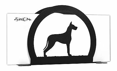 SWEN Products GREAT DANE Dog Black Metal Letter Napkin Card Holder