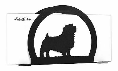 SWEN Products NORFOLK TERRIER Dog Black Metal Letter Napkin Card Holder