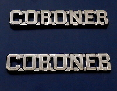 "CORONER Nickel (silver) 3/8"" Lettering Pair Collar Pins Rank Insignia"