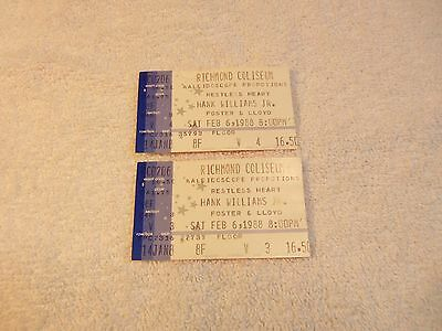 Lot of 2 HANK WILLIAMS JR. Feb. 6, 1988 Concert Tickets Stubs