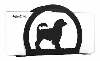 SWEN Products PORTUGUESE WATER DOG Black Metal Letter Napkin Card Holder