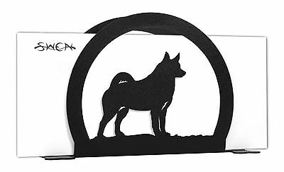 SWEN Products NORWEGIAN ELKHOUND Dog Black Metal Letter Napkin Card Holder