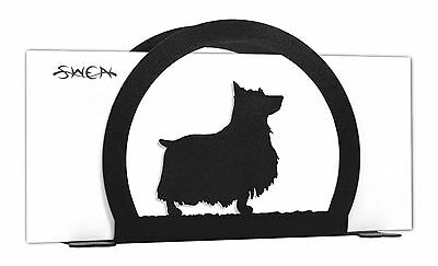 SWEN Products SILKY TERRIER Dog Black Metal Letter Napkin Card Holder