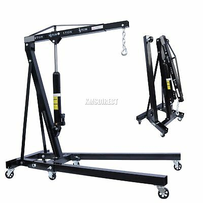 FoxHunter Black 2 Ton Hydraulic Folding Engine Crane Stand Hoist lift Jack Wheel