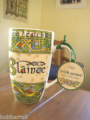 Slainte Good Health from Clara Irish Weave, Bone China Cup or Mug