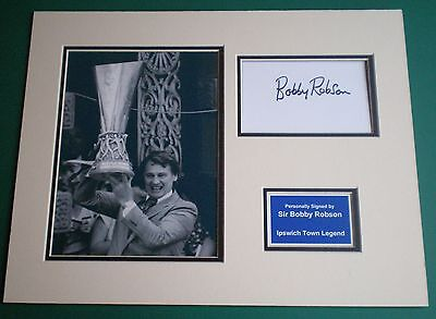 Genuine Sir Bobby Robson Hand Signed Autograph Photo Mount Ipswich Town Legend