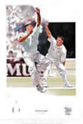 Genuine Hand Signed Darren Gough Cricket Print England Yorkshire AFTAL RD#175