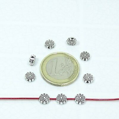 120 Entrepiezas Flores 6mm  T196X  Plata Tibetana Charms Flowers Spacer Beads